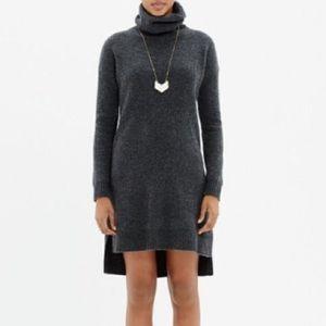 Madewell Wool Turtleneck Sweater Dress in Grey